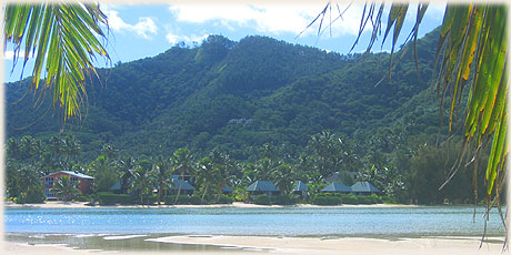 The view from Motu Oneroa, the small island across the Muri Lagoon from Sokala Villas.