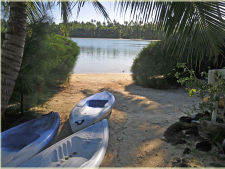kayak, the beach and the lagoon