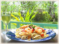 dish by Stefan´s Italian Cuisine - Pasta ai gamberi with Sauvignon blanc - click to enlarge