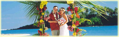 Michael and Denise married at Muri Beach in 2003 / photo: William