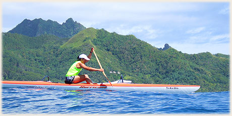 Leanne Haronga / Club Wahine Toa / NZ - won the Round Raro OC1 Relay Race 05 / Photo by Archi