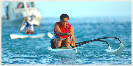 Lin Andrew / Club Te Tupo O te Manava - during warm up before the race / Photo by Lawrance Bailey © sokalavillas.com
