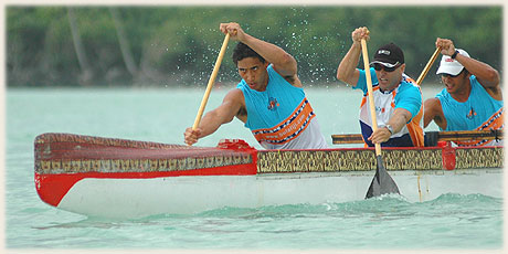 full power paddling during the Vaka Eiva Sprints on Muri Lagoon