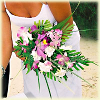 Tropical flower bouquet for the bride